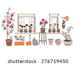 flower pots with herbs and... | Shutterstock .eps vector #276719450