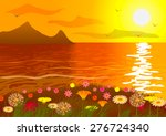 flower field on the ocean at...