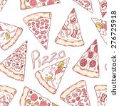 hand drawn different pizza... | Shutterstock .eps vector #276725918