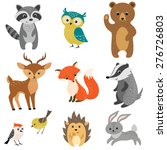 Stock vector set of cute woodland animals isolated on white background 276726803