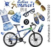 Watercolor collection of attributes for active summer: casual denim clothes, sunglasses, bicycle, gumshoes,backpack, panama. Vector design elements isolated on white background