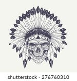 dotwork style skull with indian ... | Shutterstock .eps vector #276760310