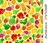 seamless pattern vector fruits... | Shutterstock .eps vector #276763688