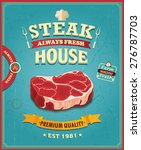 vintage steak house poster... | Shutterstock .eps vector #276787703