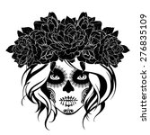 Skull Girl In A Flower Wreath....