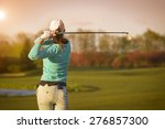 Close up of female golf player...