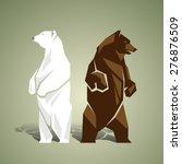 Geometric White And Brown Bears