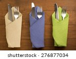 knife and fork at napkin on... | Shutterstock . vector #276877034