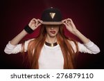 sexy hip hop woman in cap with... | Shutterstock . vector #276879110