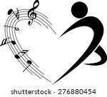 Music Note With Heart Shape An...