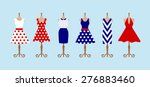 set of 6 retro pinup cute woman ... | Shutterstock .eps vector #276883460