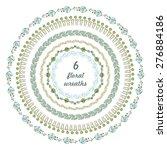 set of 6 floral wreaths ....   Shutterstock .eps vector #276884186