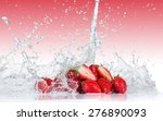 Fresh Strawberries With Water...