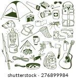 hand drawn camping doodles set | Shutterstock .eps vector #276899984