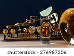 saxophone and tequila with lime ... | Shutterstock . vector #276987206