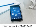 workplace with mobile phone on... | Shutterstock . vector #276993419