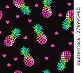 pink hearts and pineapples  ... | Shutterstock .eps vector #276995480