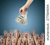 female hand holding money... | Shutterstock . vector #277004054