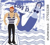 Card With Sailor And Mermaid...