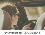 retro photo of woman listening... | Shutterstock . vector #277033646