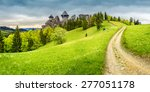 composite mountain landscape. curve path to abandoned ruins of ancient fortress through green meadow on mountain hillside with forest - stock photo