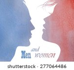 man and woman faces vector...   Shutterstock .eps vector #277064486