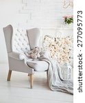 elegant arm chair with knitted... | Shutterstock . vector #277095773