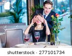 surprise ahead. romantic dinner ... | Shutterstock . vector #277101734