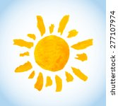 funny childlike watercolor sun... | Shutterstock .eps vector #277107974