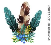 watercolor boho posy  feathers  ... | Shutterstock .eps vector #277133834