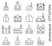 church building icon vector set   Shutterstock .eps vector #277147334