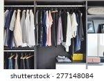 modern closet with row of... | Shutterstock . vector #277148084