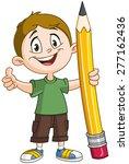 Young Boy Holding A Big Pencil...