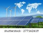 solar panels and wind turbines... | Shutterstock . vector #277162619