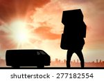 man carrying pile of boxes... | Shutterstock . vector #277182554