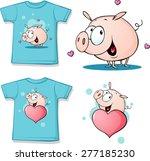 shirt with cute pig cartoon  ...