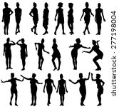 black silhouettes of beautiful... | Shutterstock . vector #277198004