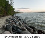 Rocks along shoreline, Lake Winnipeg, Riverton, Hecla Grindstone Provincial Park, Manitoba, Canada
