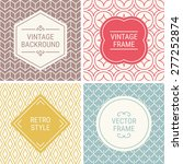 Set of vintage frames in Red, Gold, Blue, Brown and Beige on mono line seamless background. Perfect for greeting cards, wedding invitations, retro parties. Vector labels and badges | Shutterstock vector #277252874