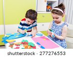 two preschool child create a... | Shutterstock . vector #277276553