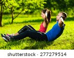 man and woman exercising at the ... | Shutterstock . vector #277279514