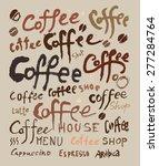 set of retro vintage coffee... | Shutterstock .eps vector #277284764