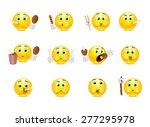set of yellow smiley who eat... | Shutterstock .eps vector #277295978