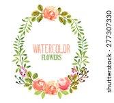 watercolor floral wreath.... | Shutterstock .eps vector #277307330