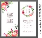 set of invitation cards with... | Shutterstock .eps vector #277308638