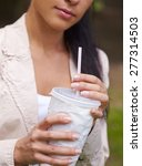 woman with drink | Shutterstock . vector #277314503