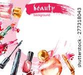 watercolor cosmetics pattern ... | Shutterstock .eps vector #277318043