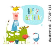 birthday fun cartoon farm... | Shutterstock .eps vector #277354568