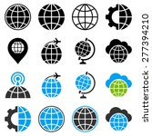 globe flat icons with planet ... | Shutterstock . vector #277394210