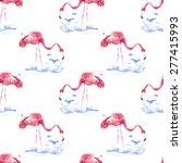 flamingo pattern  watercolor | Shutterstock . vector #277415993